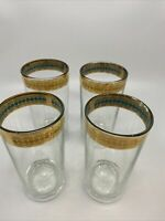 Vintage Tumblers Gold Rim Glass Highball Set of 4