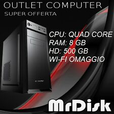PC DESKTOP QUAD CORE ASSEMBLATO RAM 8GB  HD 500 GB COMPUTER WI-FI WINDOWS 10 PRO
