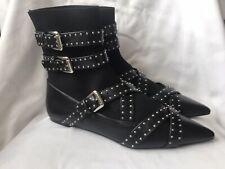 Nuevas Botas al Tobillo con Tiras con tachas Zara negro-tamaño de Reino Unido 8/UE 41-Nuevo Y En Caja