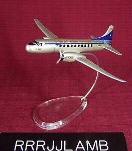 TRANS TEXAS AIRWAYS 1:144 Scale Convair CV-240 Airplane Model w/ Stand & 1 Prop