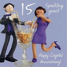 15th tarjeta de aniversario de bodas de la colección de una o dos a tanto alzado Cristal ANNIVE