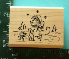 Squirrel And Mouse Ice Skating Rubber Stamp by Embossing Arts Winter Christmas