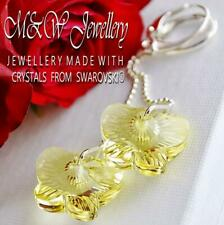 925 Silver Long Earrings Crystals from Swarovski® BUTTERFLY 18mm - Jonquil