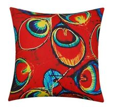 Orange Small Peacock Feathers Premium Quality Silk Satin 20 X 20 Cushion Cover