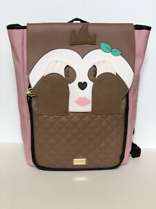Luv Betsey Johnson Peek-a-Boo Sloth Backpack Bookbag Travel Bag Pink Tan New