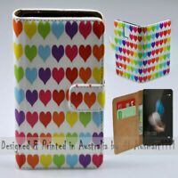 For Huawei Series - Colourful Heart Theme Print Wallet Mobile Phone Case Cover