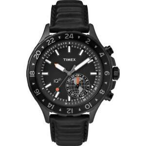 Orologio Uomo TIMEX IQ TRAVEL TW2R39900 Vera Pelle Nero Fuso Orario