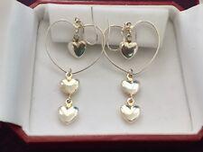 925 Silver Hearts Pending Vintage Earrings.