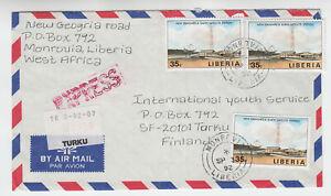 Liberia  #1136 Cover to Finland 1991 New Standard Satellite