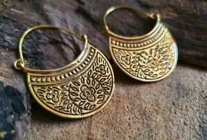 ESTATE GOLD PLATED MANDALA AFRICAN ETHNIC TRIBAL BRASS FLOWER GYPSY EARRINGS