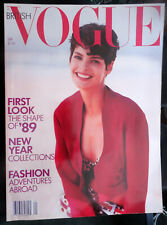 British VOGUE 1/1989 Linda Evangelista Cindy Crawford Yasmin Le Bon Jeremy Irons