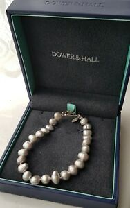 Genuine Dower & Hall Pearl Bracelet With Small Heart Lock Pale Grey.