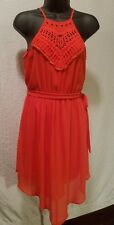SEXY PARTY BCX CHIFFON ORANGE DRESS SPAGHETTI STRAPS CROCHET LACE SIZE XS XSMALL