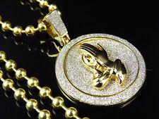 "Diamond Cut Medallion Style Prayer Hands & Chain Set In Yellow Gold Finish 1.75"""