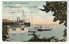 [50210] 1910 POSTCARD P. & O. STEAMSHIP DOCK in MIAMI, FLORIDA