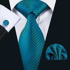 Classic Blue Green Plaids Checks Jacquard Tie Mens Wedding Necktie Set Cufflinks