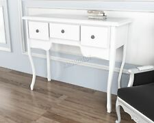 FoxHunter Vintage Console Table 3 Drawers Dressing Bedroom Wood CTW03 White
