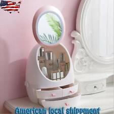 Nordic Cosmetic Storage Box Home Desktop Drawer Led Mirror Makeup Organizer Lips