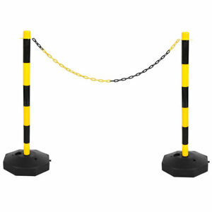 Yellow & Black Safety Crowd Barrier Fence Post with Base Set & 5m Plastic Chain
