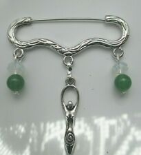 Wicca cloak brooch real jade+moonstones with Gaia moon goddess decorated pin