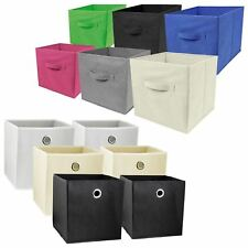 4X FOLDABLE CANVAS STORAGE COLLAPSIBLE FOLDING BOX FABRIC CUBE CLOTH BASKET BAG