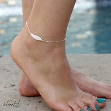 Leaf Adjustable Ankle Bracelet A33 Sterling Silver 925 Feather Anklet Sideways