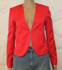 Superb Red Fabric DIVIDED Hook & Eye Fitted Hip Length Jacket Blazer Size 6 / 34