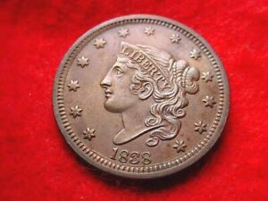 1838 BRAIDED HAIR LARGE CENT SUPERIOR BU CENT!!   #7