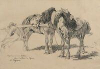 Emile JACQUE (1848-1912) GRAND DESSIN ORIGINAL - CHEVAUX - ETUDE PREPARATOIRE