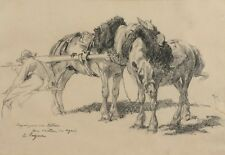 Emile JACQUE (1848-1912) GRAND DESSIN ORIGINAL - CHEVAUX - ETUDE PREPARATOIRE