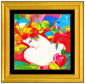 Peter Max Original Flower Blossom Lady Acrylic Painting Signed Collage Pop Art