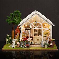 DIY Dollhouse Miniature Furniture Kit LED Kids Birthday Xmas Gift Flower House