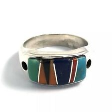 Native American Sterling Silver Hand Made Multicolored Inlay Ring Size: 6
