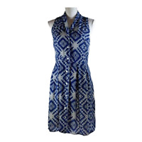 Paper Crown Womens Dress Sleeveless Button Up Fit and Flare Work Blue Size Small