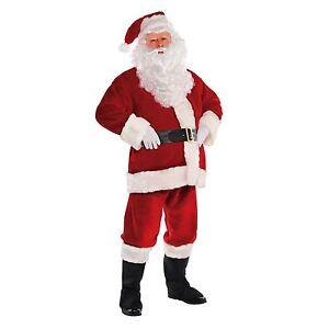 Mens Deluxe Plush Velvet Santa Suit Father Christmas Xmas Fancy Dress Costume