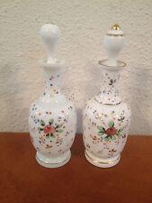 Vtg Antique Pair Opaline Glass Scent / Perfume Bottles Painted Enamel Decoration