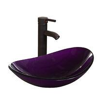 Oval Bathroom Tempered Glass Vessel Sink Faucet Pop-up Drain Basin Combo Tap Set