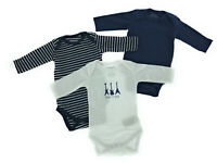 3er Set Baby Bio Baumwolle Langarm Body Strampler 0 - 24 Monate Blau Weiß Lang