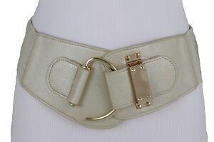 Women Wide Waistband Champagne Belt Gold Metal Hook Buckle Pus Size L XL XXL