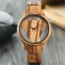 Unique Triangle Wood Watch Creative Hollow Dial Full Wooden Quartz Wristwatch