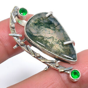 """Indian Moss Agate & Emerald Vintage 925 Sterling Silver Pendant 1.9"""" P776-37"""