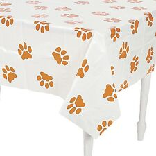 DOG PUPPIES BIRTHDAY PARTY PLASTIC ANIMAL PAW PRINT TABLECLOTH TABLE COVER