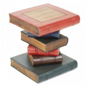 """Book Stack Table/Painted/Hand Carved/Solid Wood/Lamp Table/Plant Stand 12"""""""
