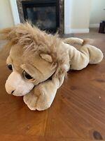 "The Petting Zoo Lion Plush Stuffed Animal Soft Sad Big Eyes 12"" Vintage RARE"
