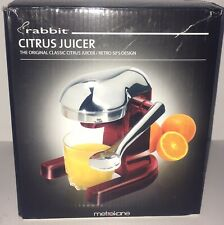 Metrokane Retro Hand Levered Manual Red Chrome Citrus Juicer New NIOB