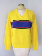 VGC Vtg 70s Canary Yellow Blue Red Green Stripe Acrylic V-Neck Ski Sweater M