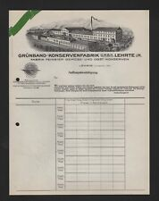 LEHRTE, Rechnungsbogen 1920, Grünband-Konserven-Fabrik GmbH