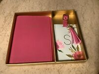 """Passport Cover And Floral Luggage Tag Gift Set With Letter """"S"""" Gold-Stamping NEW"""