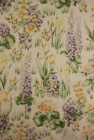 Vintage French large scale floral cotton textile tulips pansies purple 1930's