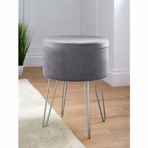 Velvet Stool With Storage Retro Round Dressing Table Vanity Chair Footstool Grey
